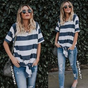 Tops - 🎉Host Pick🎉 Tie Front Striped Top